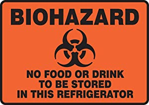 """Accuform Signs MGS119 Magnetic Vinyl Refrigerator Sign, Legend """"BIOHAZARD NO FOOD OR DRINK TO BE STORED IN THIS REFRIGERATOR"""" with Graphic, 7"""" Length x 10"""" Width x 0.034"""" Thickness, Black on Orange-Red"""