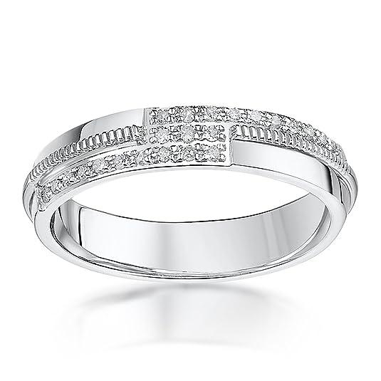 Theia 9ct White Gold Court 0.12ct Round Diamond 4mm Eternity Ring dwUasWAl