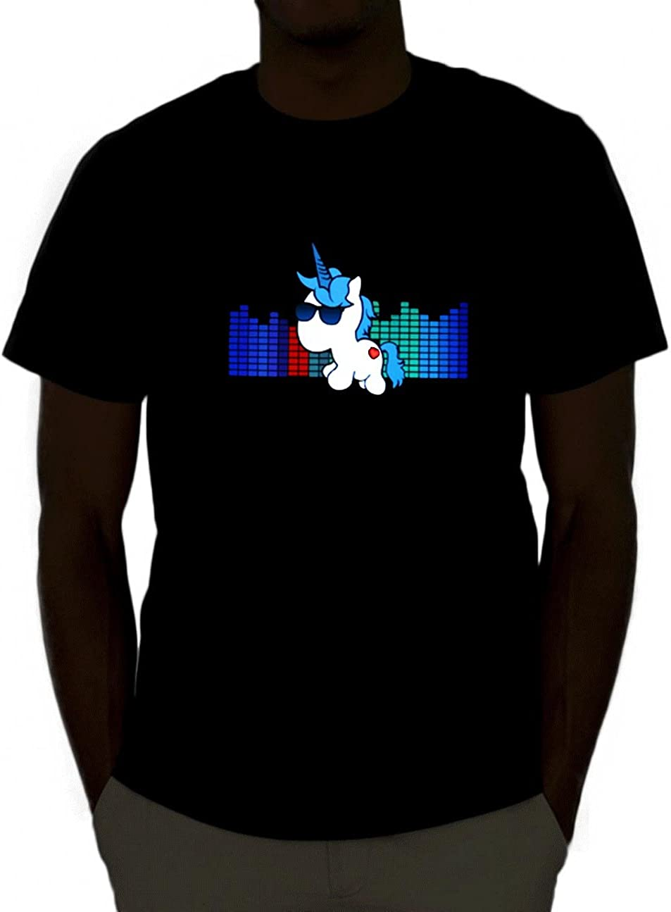 Emazing Lights con Ojos de luz activada por Sonido de Rave Fesitval con luz LED Camiseta de Manga Corta tee Ecualizador de: Amazon.es: Ropa y accesorios