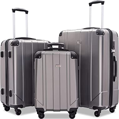 Merax 3 Pcs Luggage Set with Built-in TSA and Reinforced Corners, Eco-friendly P.E.T Light Weight Spinner Suitcase Set (grey1)