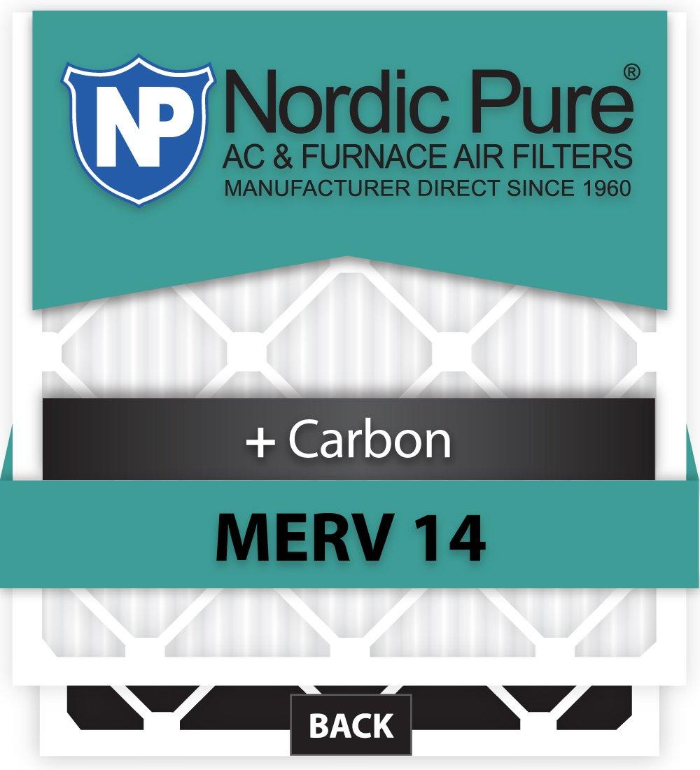 Nordic Pure 19x22x1ExactCustomM14+C-6 MERV 14 Carbon AC Furnace Filters 6 Piece