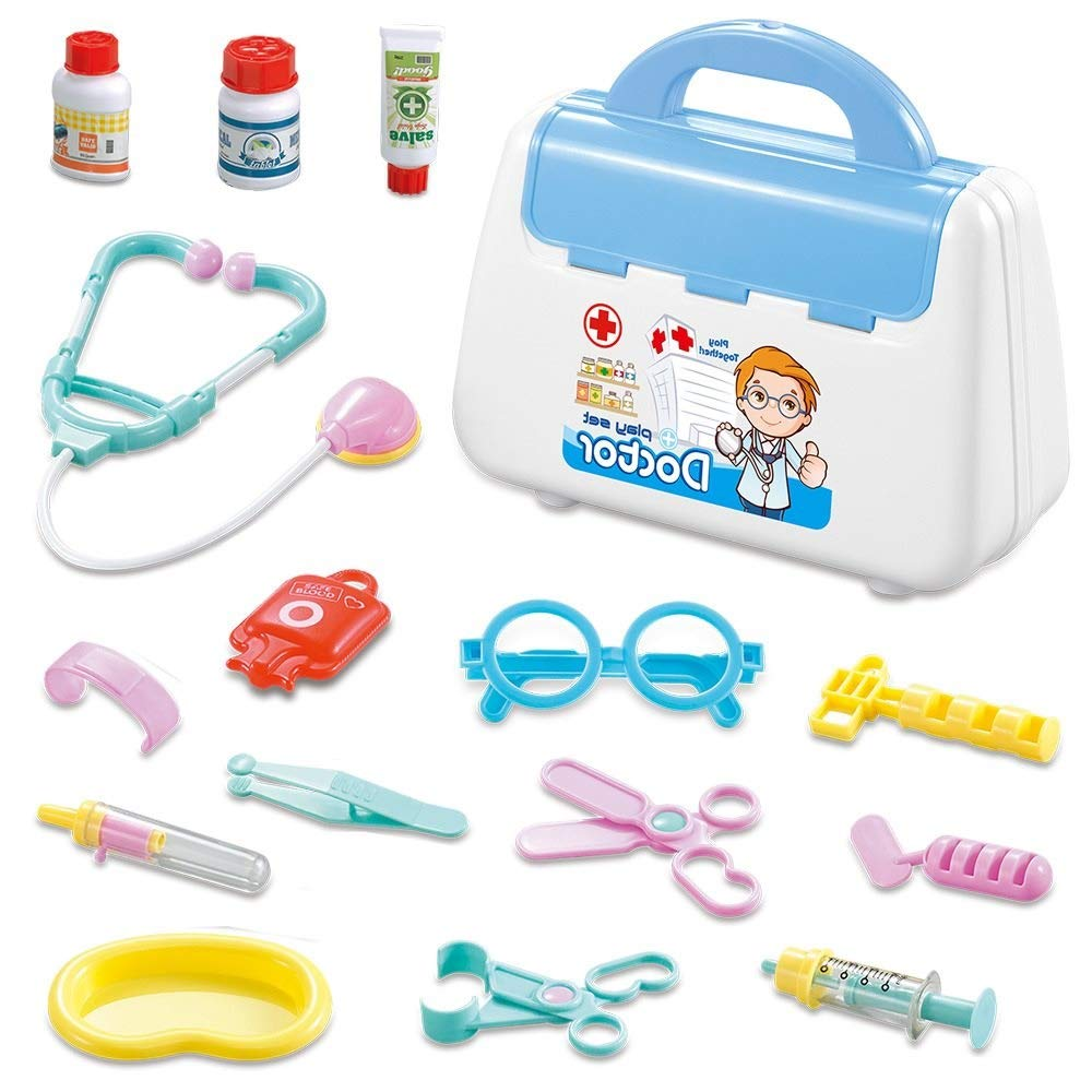 RANRANJJ Kids Doctor Kit, 15 Pcs Pretend Doctor Role Play Kit, Pretend Play Doctor Set Doctor Accessories Role Play Tools Toy Gift for Kid (Color : Blue)