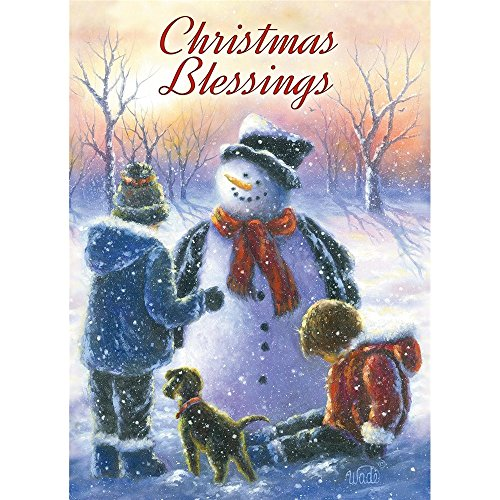 Legacy Publishing Group Deluxe Boxed Holiday Greeting Cards with Scripture, Chubby Snowman with Children (HBX41030)