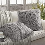 Phantoscope Set of 2 Grey Decorative New Luxury Series Merino Style Fur Throw Pillow Case Cushion Cover 18