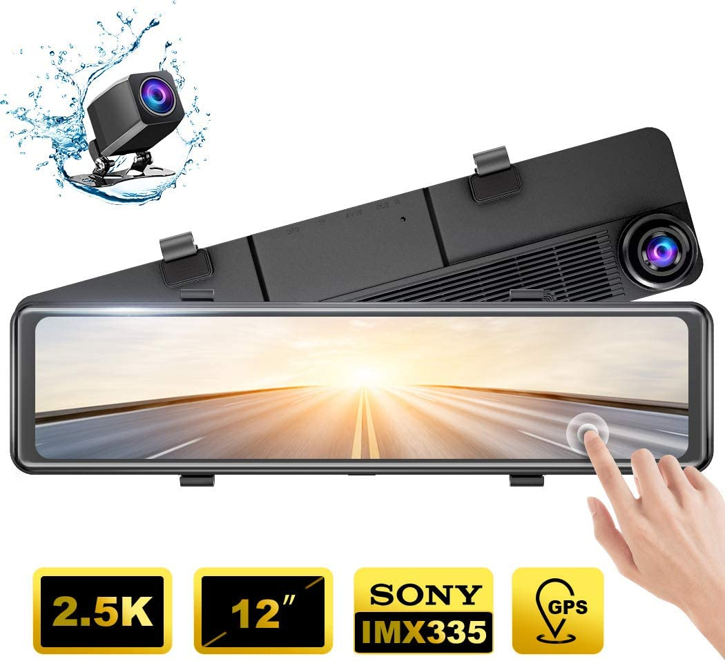 AKASO DL12 2.5K Mirror Dash Cam 12 Touch Screen Front and Rear Dual Dash Camera for Cars Enhanced Night Vision Backup Camera with Sony Starvis Sensor GPS G-Sensor Parking Assistance