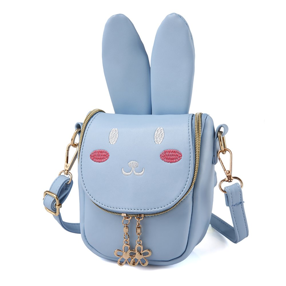 Pinky Family Super Cute Girls Purse Bunny Ear Shoulder Bag Messenger Bag Girls Gifts (pattern 1 blue)