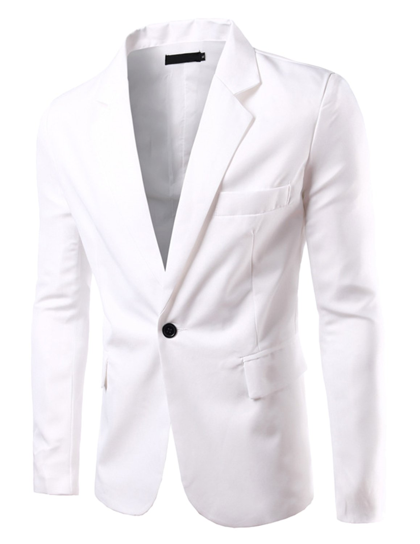 Pishon Men's Slim Fit Blazer Jacket Solid Cotton Casual One Button Sport Coats, White, US Size 42R(Tag Size 3XL)