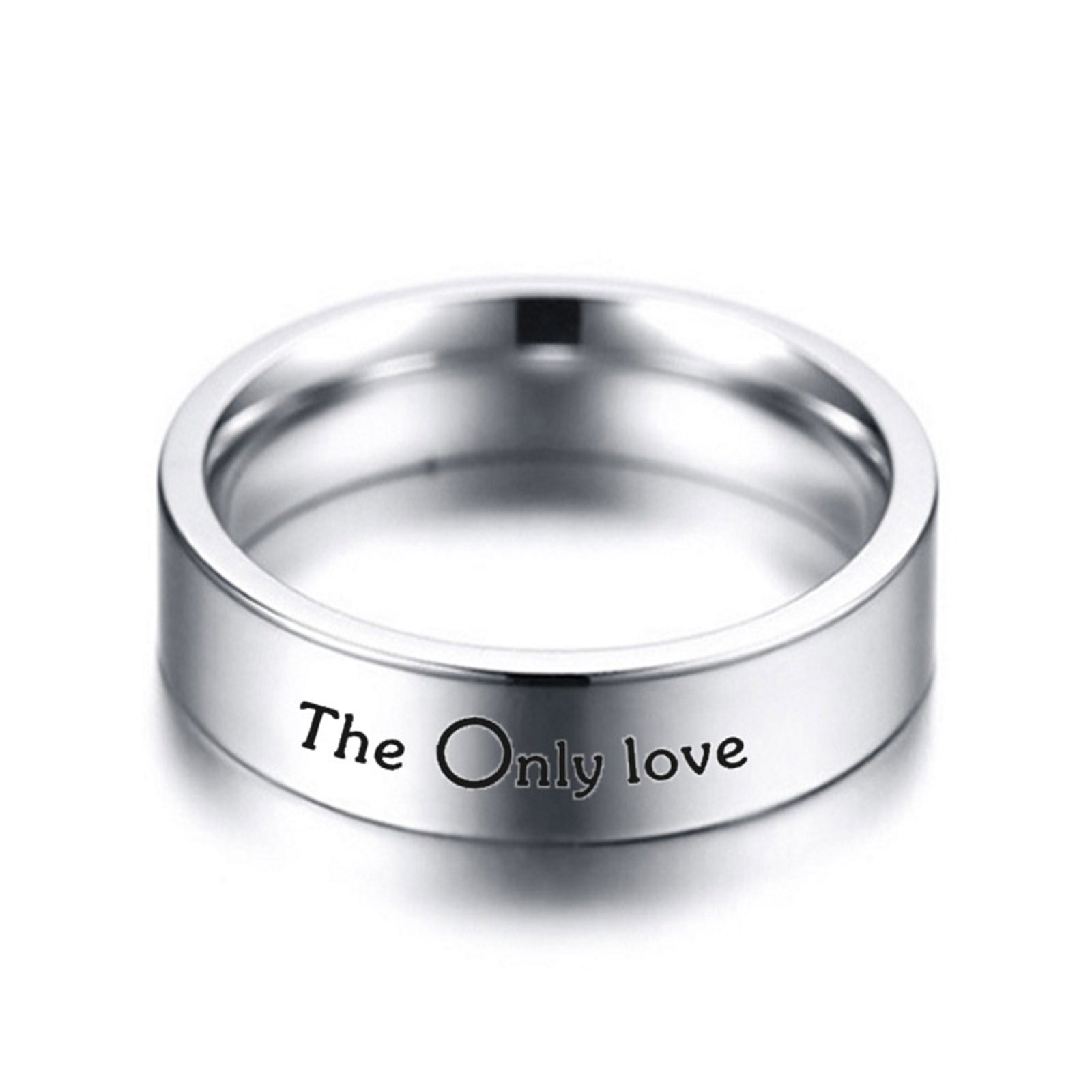 Daesar 1PCS Stainless Steel Rings Couple Ring Engraving The Only Love Ring Commitment To Personalized Silver Ring Size 10 by Daesar (Image #2)