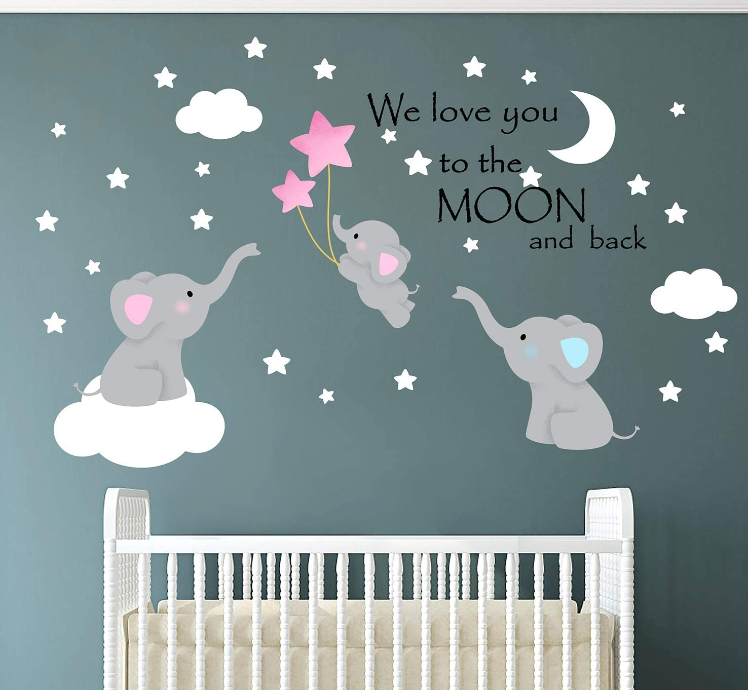 Family Elephant Wall Decal Baby Nursery Decor Kids Room Wall Stickers Large Cute Lovely Elephant Decals with Moon Stars Quote Home Decorations Love You to The Moon and Back 60''W x48''H