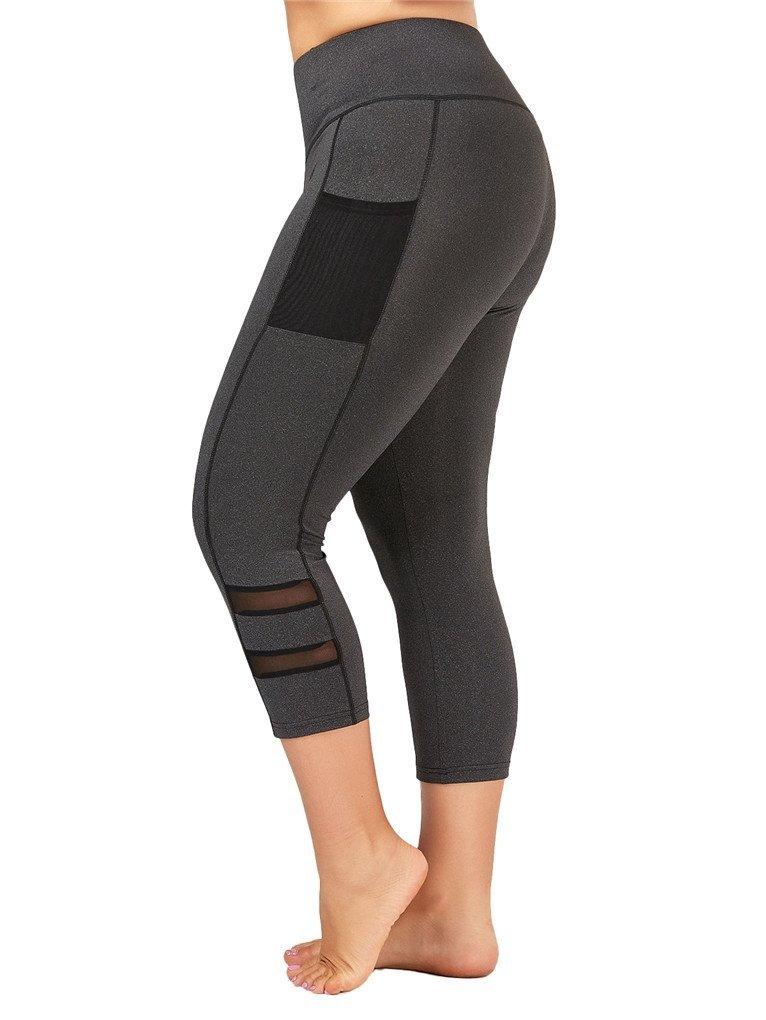 Fenxxxl Power Flex Yoga Capris Pants Tummy Control Workout Running 4 Way Stretch Crop Leggings F67 Grey 2XL by Fendxxxl (Image #2)