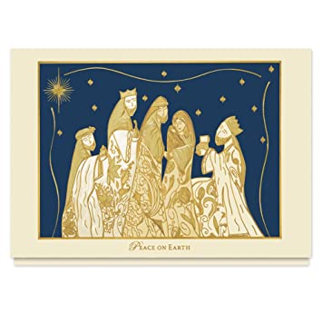 Gilded Nativity Religious Christmas Card 25 Premium Holiday Cards With Foiled Lined Envelopes