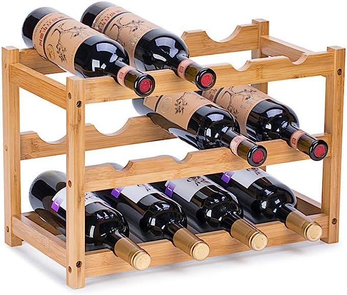 Amazon.com: FOSTERSOURCE Wine Rack, Natural Bamboo Storage Rack Freestanding Countertop Stackable Display Shelf Wine Bottle Holder (3-Tiers 12-Bottles): Home & Kitchen