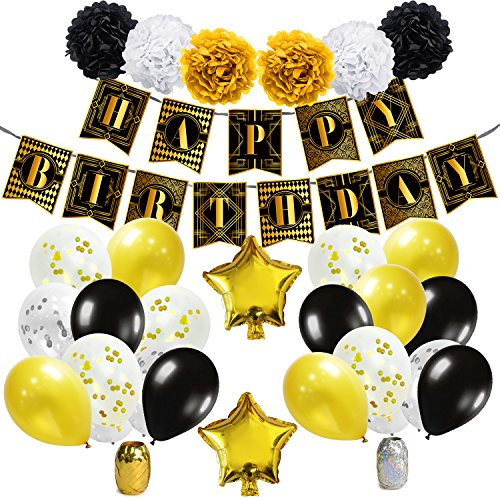 KUNGYO Roaring 20s Party Decorations – 1920s Themed Birthday Party Supplies, Black and Gold Happy Birthday Banner, Star Foil Balloons, Confetti Latex Balloons, Paper Pom Poms -