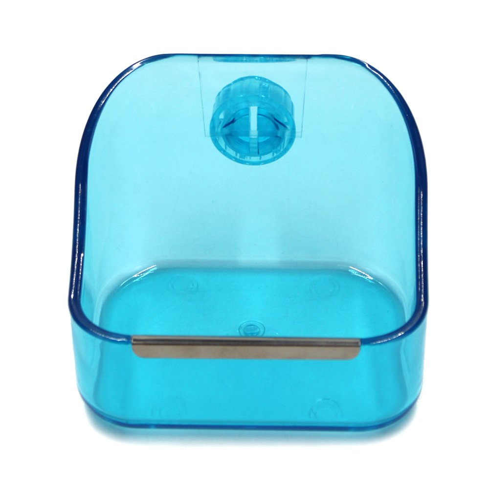 MoMaek Small Animal Supplies Plastic Pet Rabbit/Guinea Pig/Galesaur/Hamster Grass/Food/Water Double Use Container/Feeder/Bowl/Dish (Light blue)
