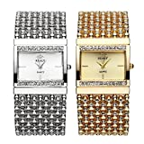 Top Plaza Women Luxury Fashion Bracelet Analog Quartz Watch Silver Tone Big Face Large Dial Wide Band Rhinestone Decorated Waterproof Cuff Watch,Rectangle Case 30×31 MM
