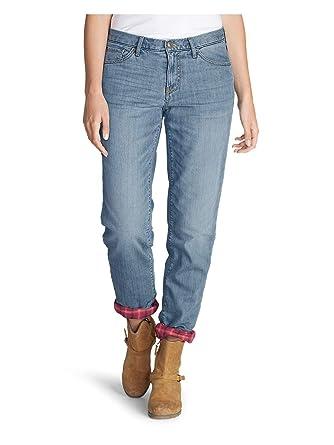61c88f92 Eddie Bauer Women's Boyfriend Flannel-Lined Jeans at Amazon Women's ...