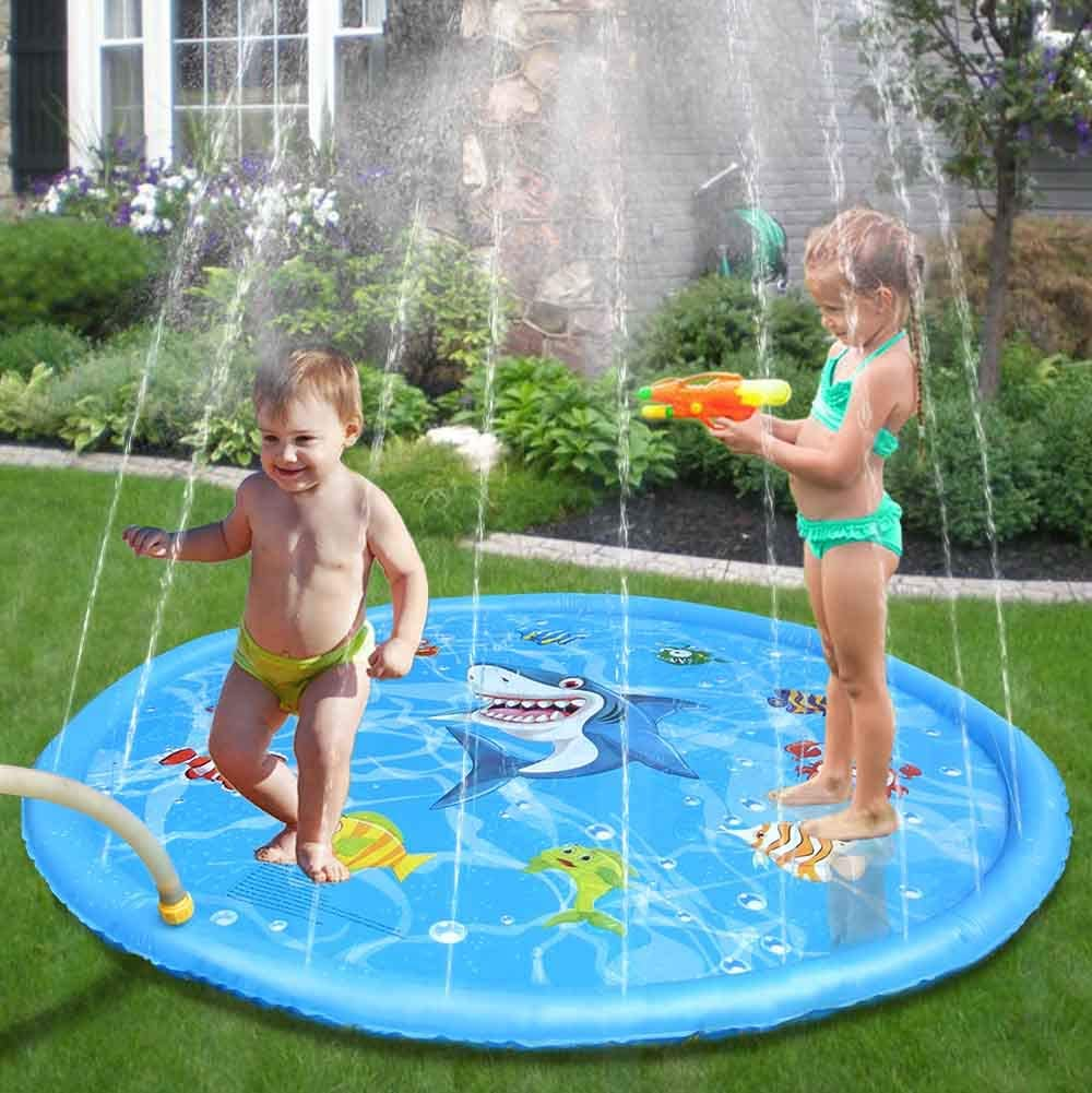 Sprinkle & Splash Play Mat Enhanced PVC 60In-Diameter Splash Pad Summer Water Toys for Baby Children Summer Play Beach Yard Outdoor Garden Lawn (152cm)