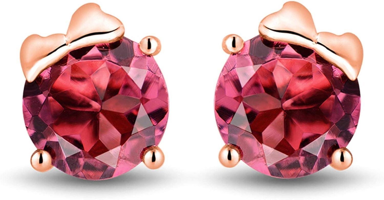 Aimsie Pendientes de oro rosa de 1,63 quilates redondos de turmalina rosa para mujer de 18 quilates Au750 oro rosa
