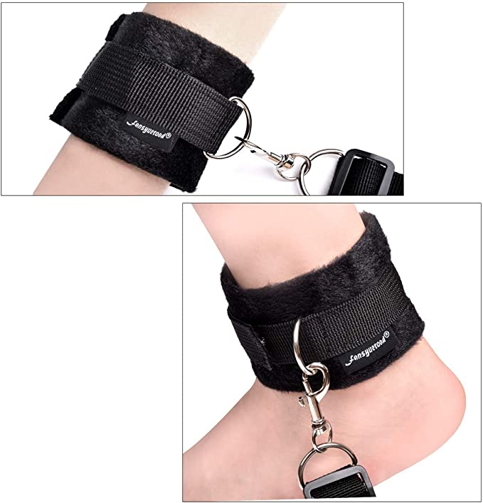 Edonsor Hand Cuffs and Thigh Cuffs Cuffs Set for Men and Women Role Play Costume Accessory