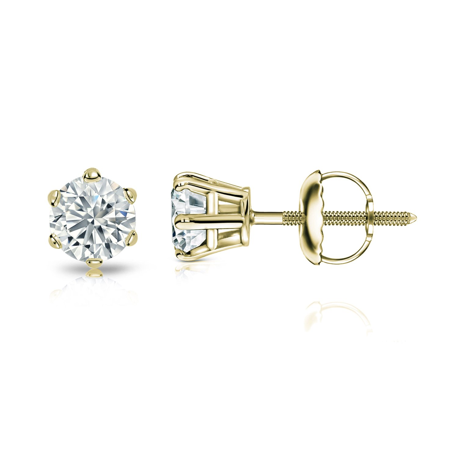 1//2-2cttw,Excellent Quality 14k Yellow Gold Mens Round Diamond Simulant CZ Stud Earrings 6-Prong