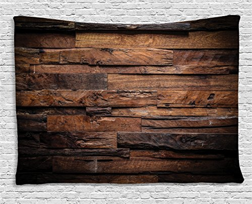 Ambesonne Chocolate Tapestry, Rough Dark Timber Texture Image Rustic Country Theme Hardwood Carpentry, Wall Hanging for Bedroom Living Room Dorm, 80 W X 60 L inches, Brown Dark Brown (Wall Hardwood)