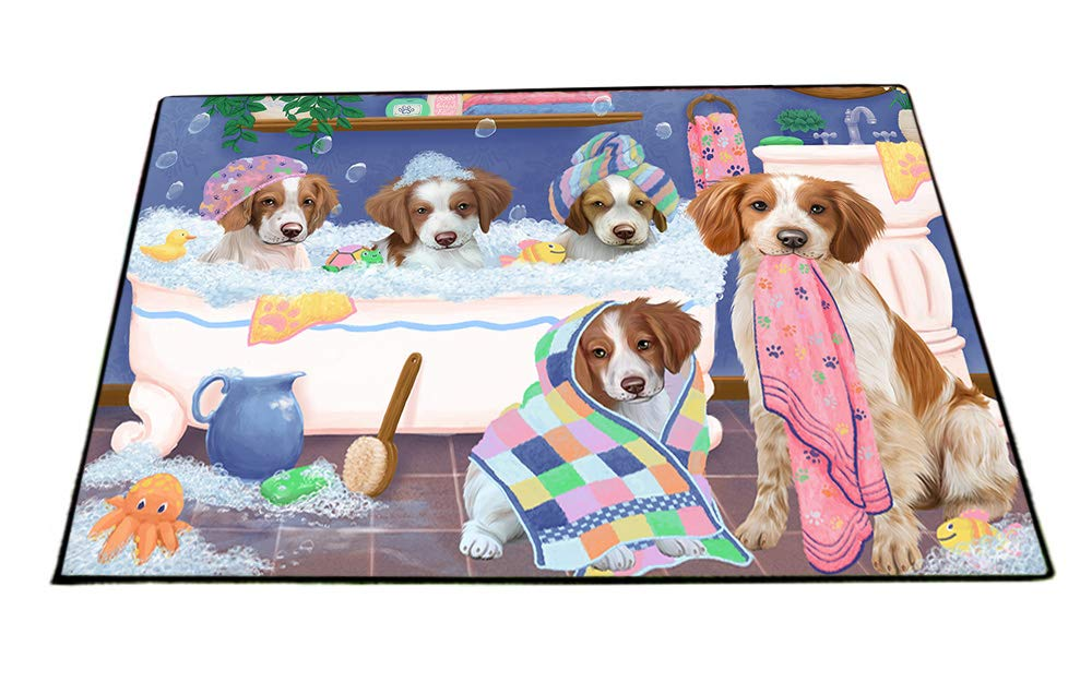 Rub A Dub Dogs In A Tub Brittany Spaniels Dog Floormat FLMS53502 (18x24) by Doggie of the Day