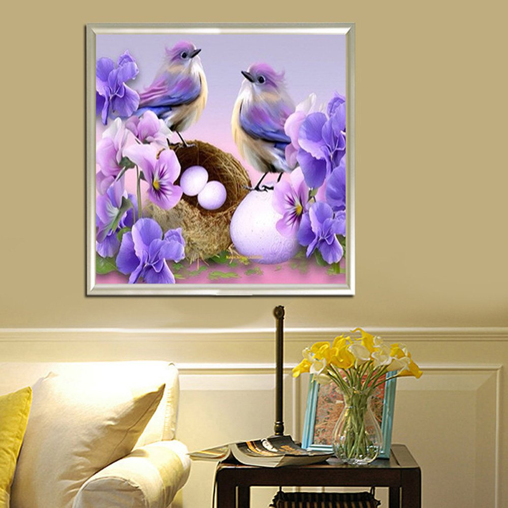 Amazon.com: 5D DIY Bird And Eggs Flower Diamond Painting By Number ...