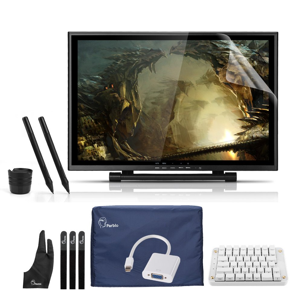 Ugee 19'' Graphics Drawing Pen Digital Tablet Monitor Display with One-hand Mechanical Gaming Keyboard,Mini Displayport DP to VGA Adapter Cable,Screen Protector Cover