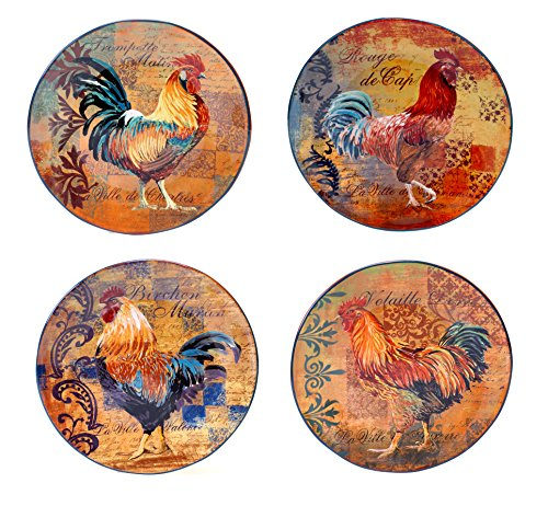 (Certified International Rustic Rooster Dinner Plate, 11-Inch, Multicolor, Set of 4)