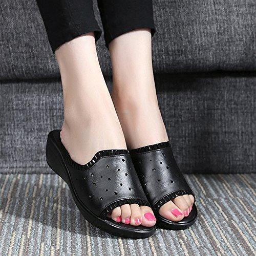 Verano De Negro Desgaste En amp;QIUMEI Mediana Pendiente Del Zapatillas Sandals Edad Y Talón La OME Hembra La Madre Las De El De De La Y4fqEwE