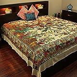 Cream Tree of Life Indian Bedspread, Queen Size