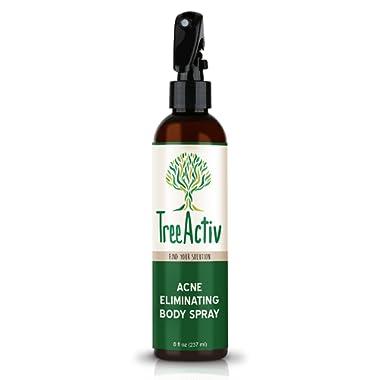TreeActiv Acne Eliminating Body Spray, Natural Body, Back, Butt, Chest and Shoulder Acne Treatment, Salicylic Acid, Tea Tree, Aloe, Witch Hazel, Menthol, Mint, 8 fl oz