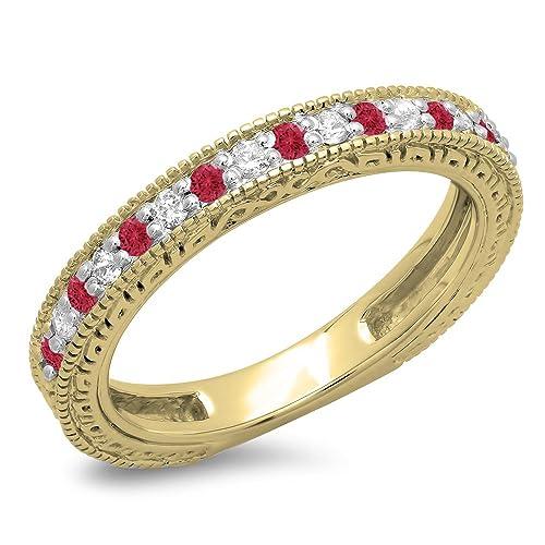 DazzlingRock Collection 14K Oro Corte Redondo rubí Mujer millgrain Aniversario Boda con Banda 4