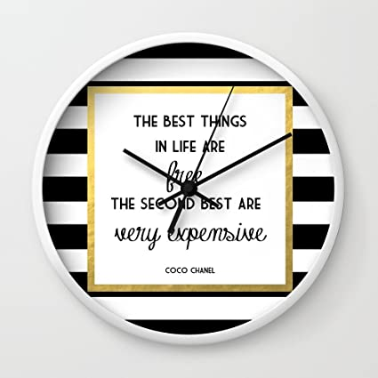 Amazon.com: Society6 Coco Gold Very Expensive Quote Wall Clock White ...