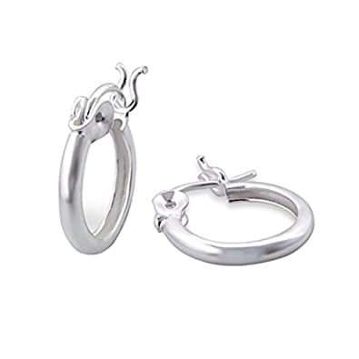 4a41f6dfc Small Plain Creole Earrings - Sterling Silver - 1.2cm Hoop Gift:  Amazon.co.uk: Jewellery