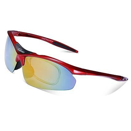 Gafas de Sol Deportivas Polarizadas,Carfia TR90 UV400 Unisex Gafas de Sol Deportivas Polarizadas 5 Lentes de Cambios Incluido para Deporte y Aire ...