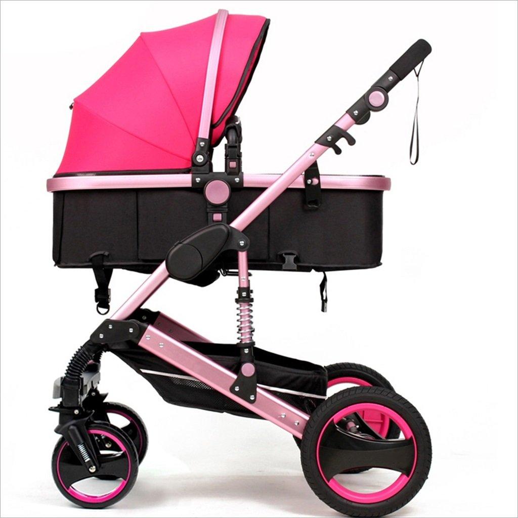 新生児の赤ちゃんキャリッジ折りたたみ可能な座って、1ヶ月のためのダンピングの赤ちゃんカートに落ちることができます 3歳の赤ちゃん2ウェイ四輪ベビートロリーを振るのを避ける (色 : ピンク ぴんく) B07DVBB2JK ピンク ぴんく ピンク ぴんく