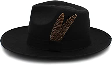 DOSOMI Fashion Womens Mens Jazz Fedora Hats Unisex Wool Felt Hat Wide Brim Panama Trilby hat