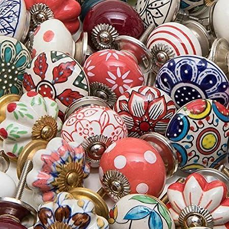 bulk lot of 25 mixed decorative ceramic door knobs irregular