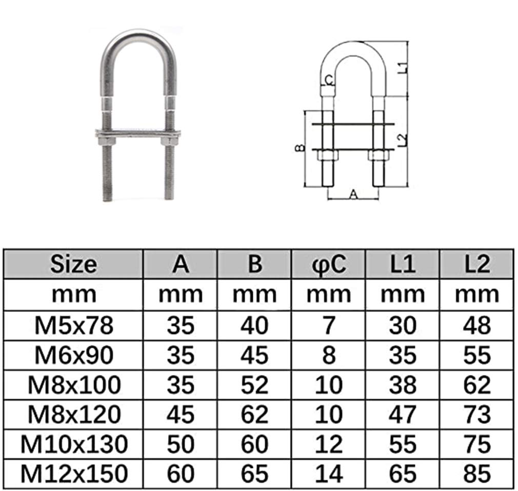 Faspiroty Stainless Steel Boat Stern//Bow Tie Down Eye U Bolt Marine M10x120MM Pack of 2