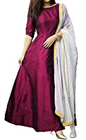 S R Fashion Womens Tapeta Silk Plain Full Stitched Long Gown With Dupatta For Womens(SRF_Full Stitched_Rani Pink_Tapeta_JFW-128_65852)