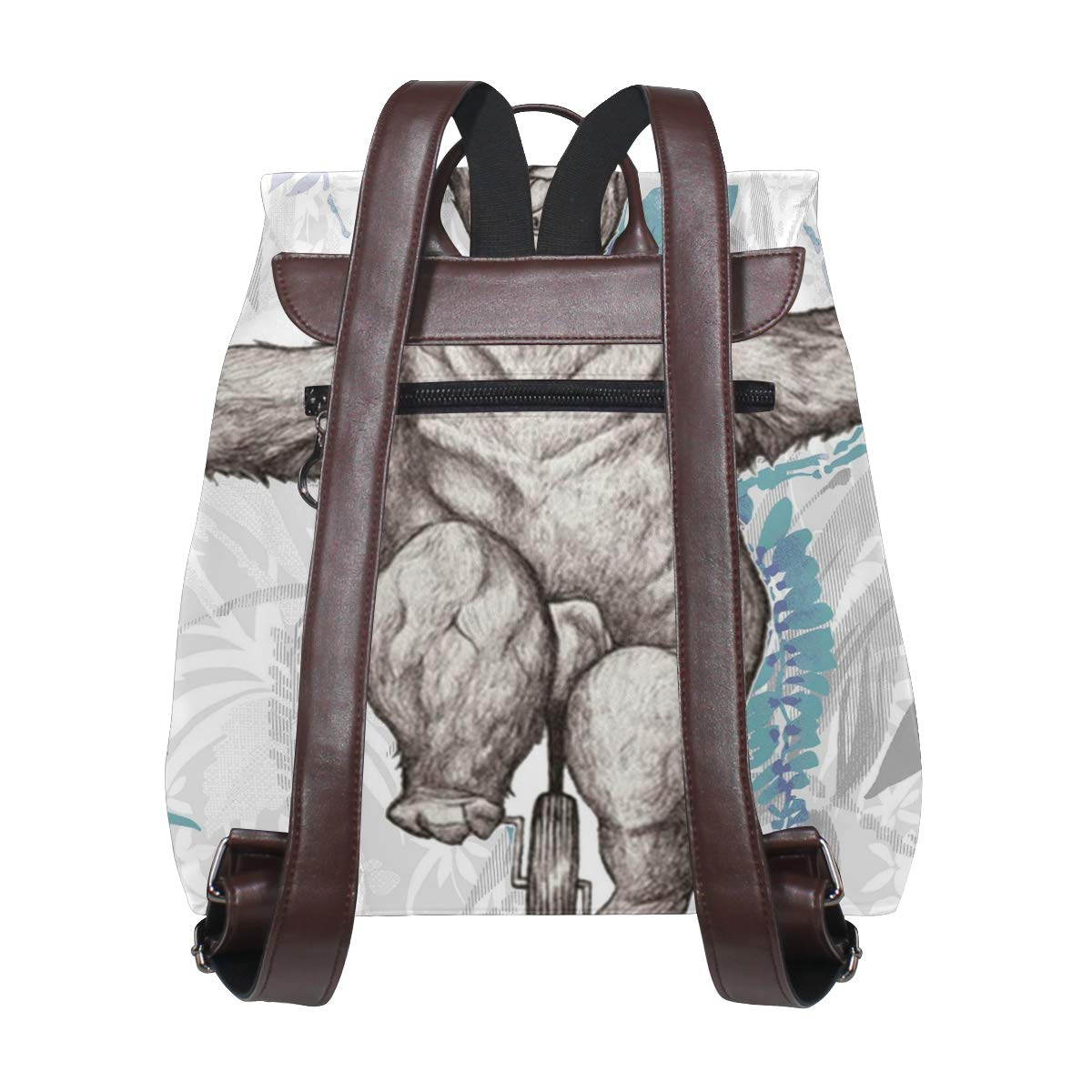 PU Leather Shoulder Bag,Funny Bear On Wheel Backpack,Portable Travel School Rucksack,Satchel with Top Handle