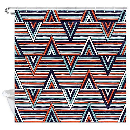 - Chevron Stripes Wallpaper Shower Curtain for Bathroom, Bright Pattern with Vivid Zigzag Horizontal Diagonal Lines Classic Geometric Shower Curtains, Fabric Bathroom Curtains 12PCS Hooks, 69X70 In