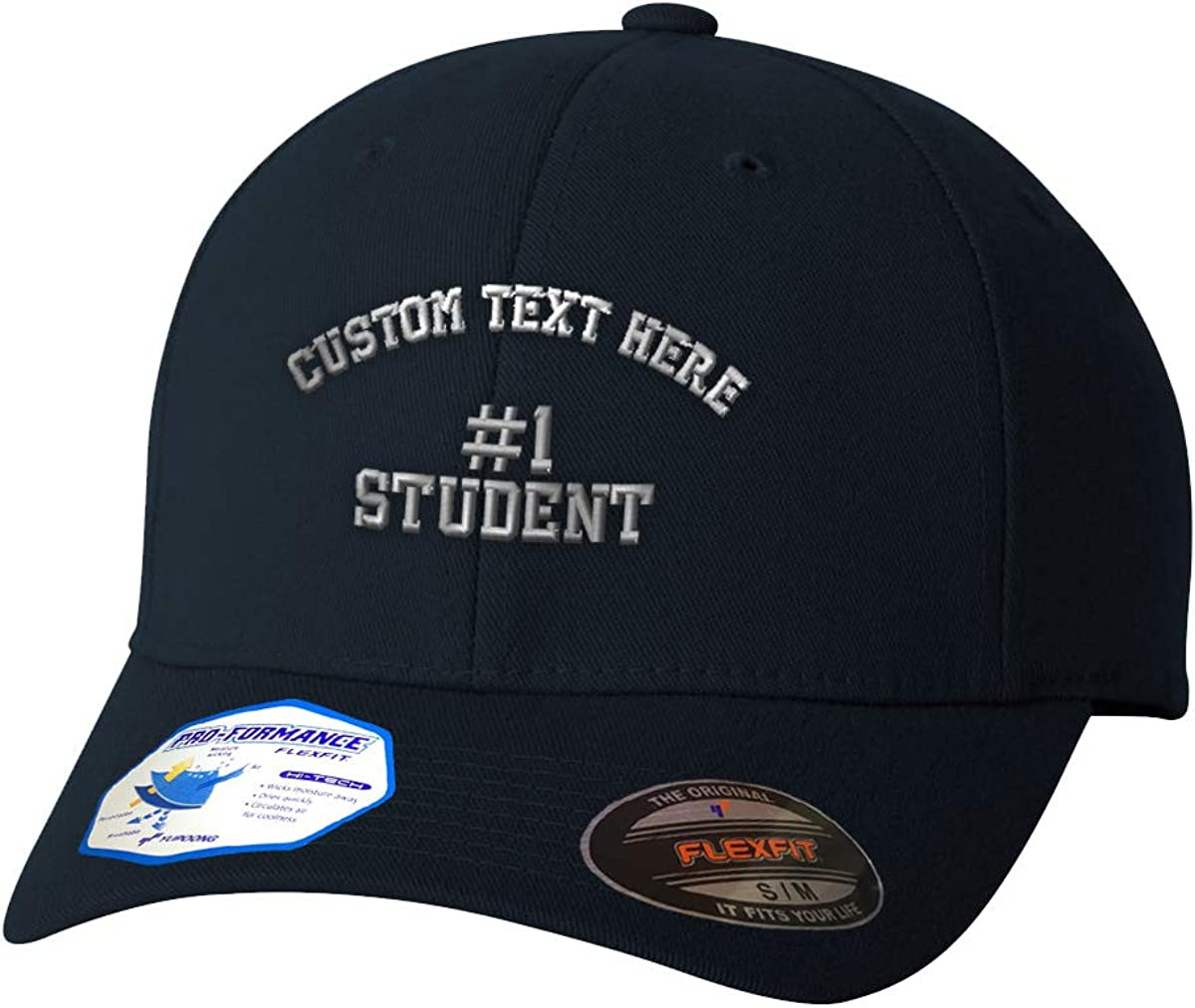 Custom Flexfit Hats for Men /& Women Number #1 Student Embroidery Polyester