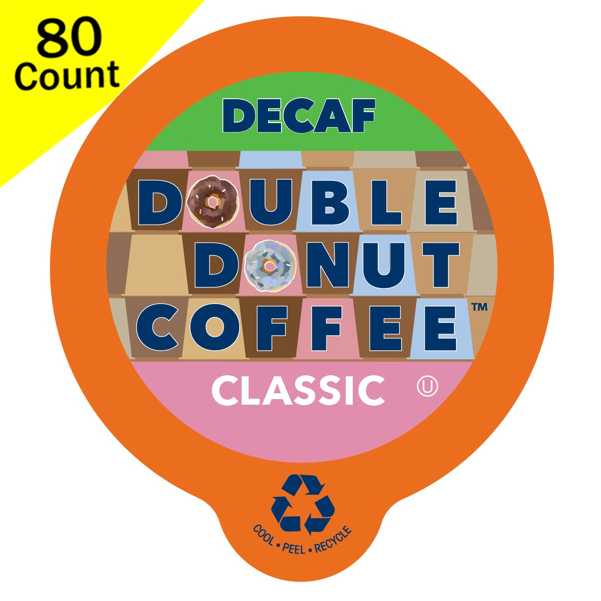 Double Donut Classic Decaf Coffee, in Recyclable Single Serve Cups for Keurig K-Cup Brewers, 80 Count by Double Donut Coffee