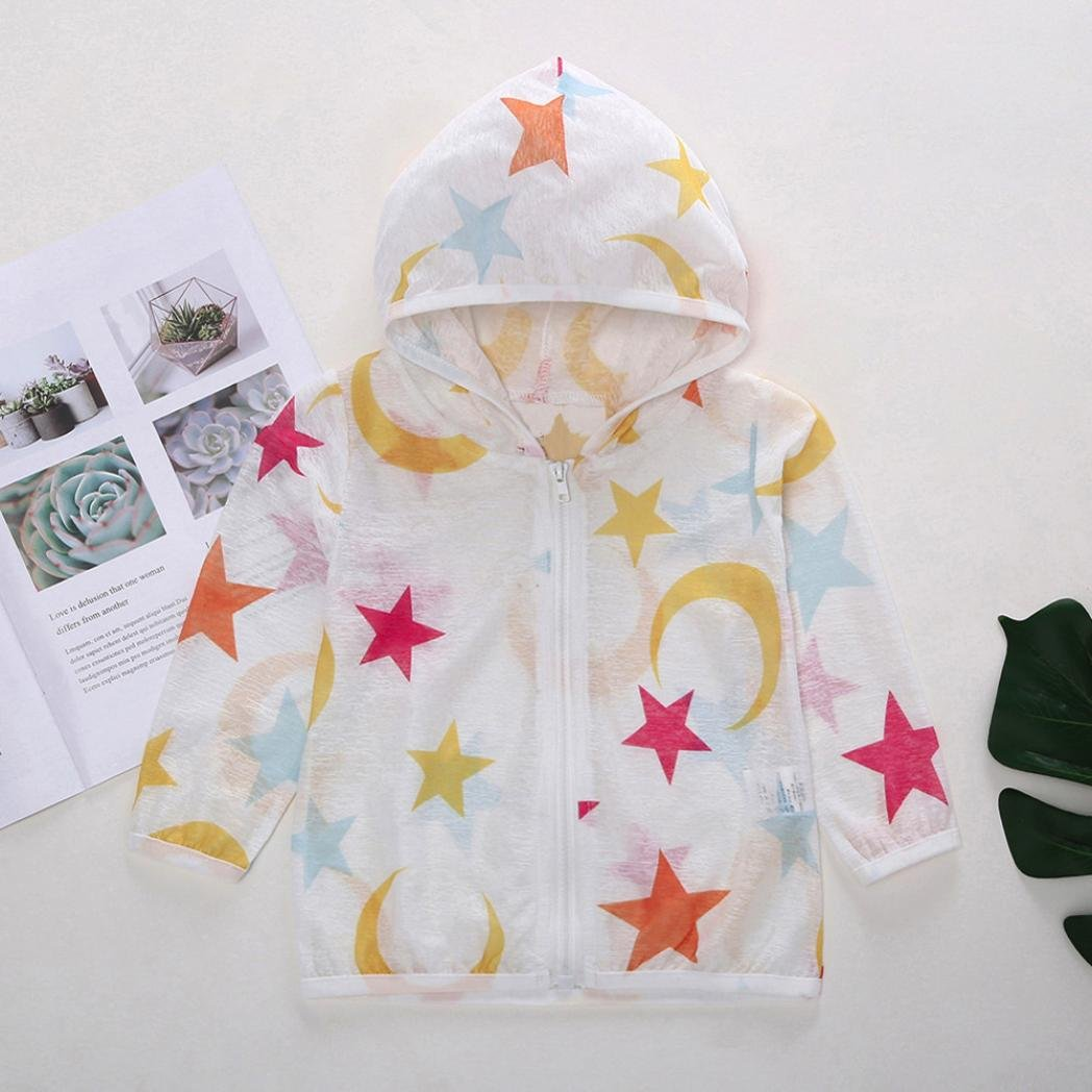 WARMSHOP Kids Boys Girls UV//Sun Protection Star Printing Ultrathin Thin Hooded Breathable Summer Outerwear Zip Coat