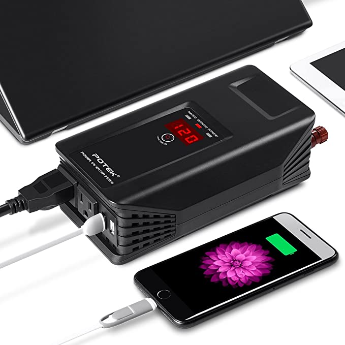 POTEK 750W Power Inverter 12V DC to 110V AC Car Adapter with Two USB and AC Charging Ports for Laptop Smartphone,Camera and More Tablet
