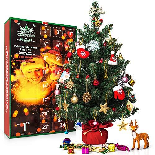 "SWEET DIARY Christmas Advent Calendar 2018 Tabletop Christmas Tree Countdown Calendar 24 Days, 23.6"" Pine Tree Kids Boys Girl Xmas Gifts DIY Christmas Ornaments 23 Toy Home Office Desk Decorations"