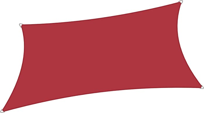 Alion Home 10' x 13' Waterproof Woven Sun Shade Sail in Vibrant Colors (Burgundy Red)