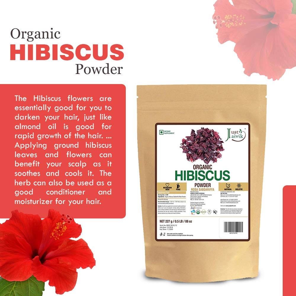 Just Jaivik Organic Hibiscus Flower Powder In Biodegradable